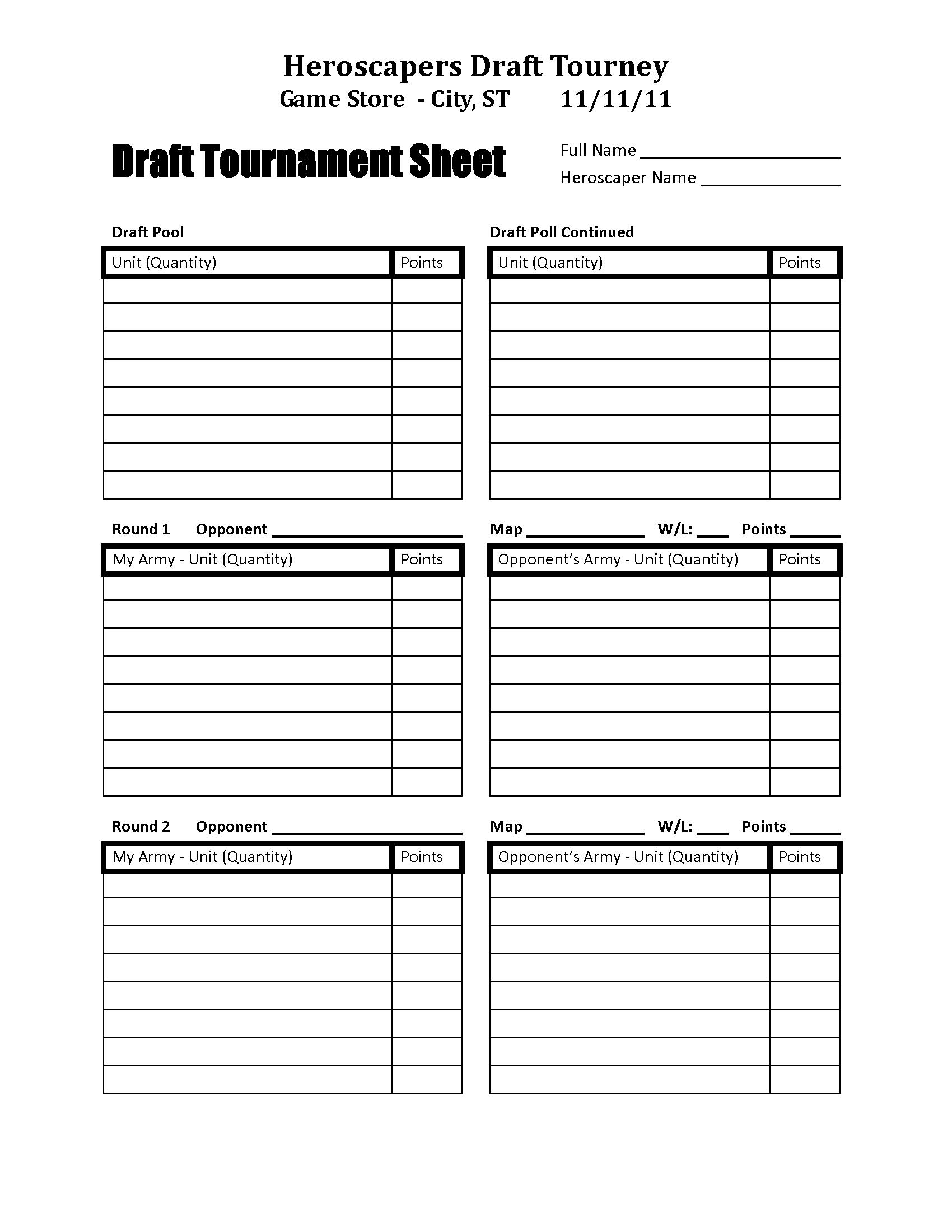 Heroscapers   Downloads   Draft Tournament Sheet